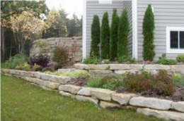 gardens with stone border